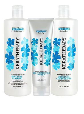 Keratin Keratherapy Moisture Shampoo & Conditioner 32 oz ea + Deep Conditioning Masque 8 oz