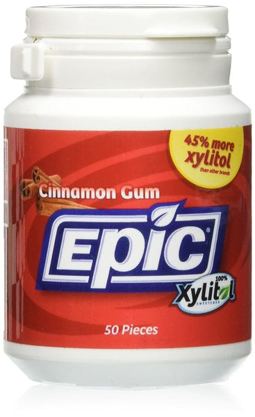 Epic Dental Xylitol Gum, Cinnamon - 50 Piece