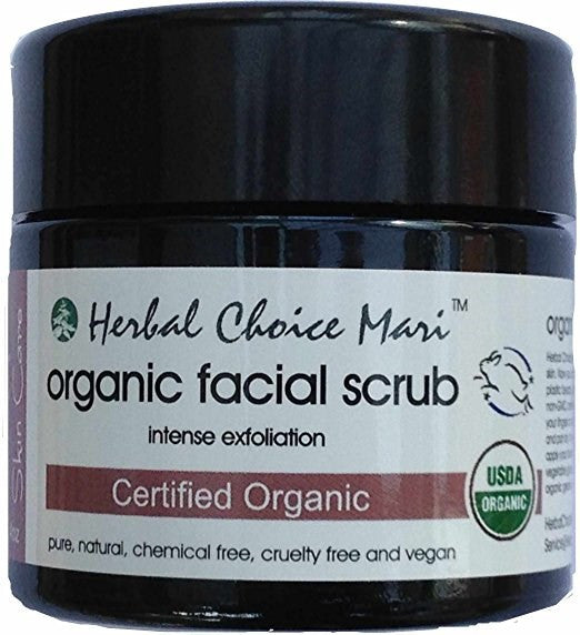 Herbal Choice Mari Organic Facial Scrub - Intense Exfoliation 4.4 oz Jar