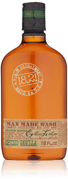 18.21 Man Made 3 in 1 Body Wash, Shampoo & Conditioner for Men Spiced Vanilla 18 Ounce