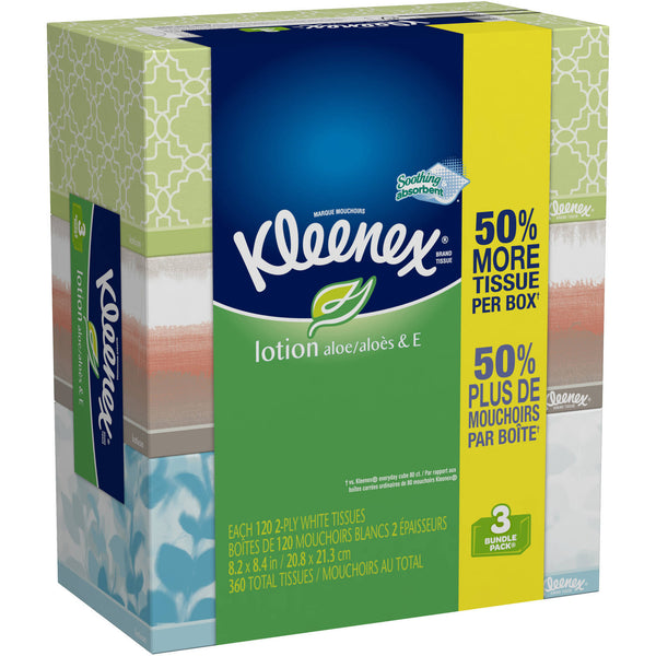 Kleenex Lotion Tissues with Aloe 120ct Pack of 3