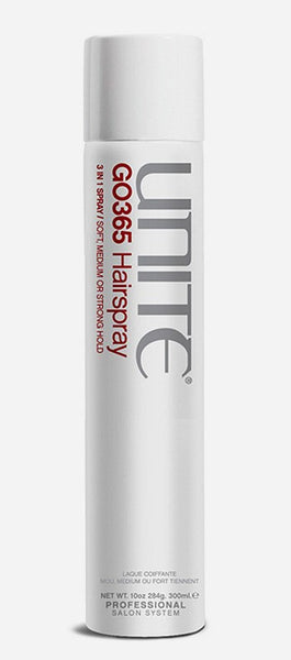 Unite GO365 Hairspray 3 In 1 - Soft, Medium Or Strong Hold 10 oz Hair Spray