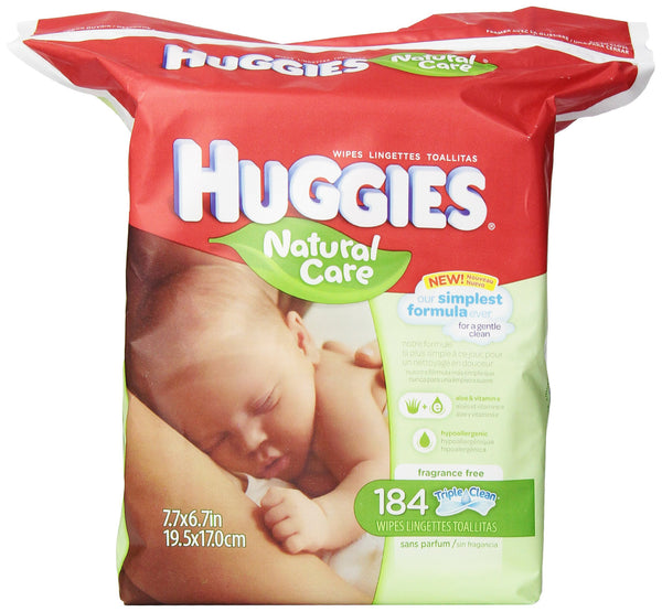 Huggies Natural Care Fragrance Free Baby Wipes, 552 Total Wipes 184 Count (Pack of 3)