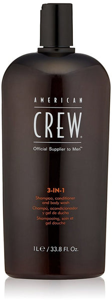 American Crew 3-in-1 Shampoo Conditioner and Body Wash, 33.8 Fluid Ounce