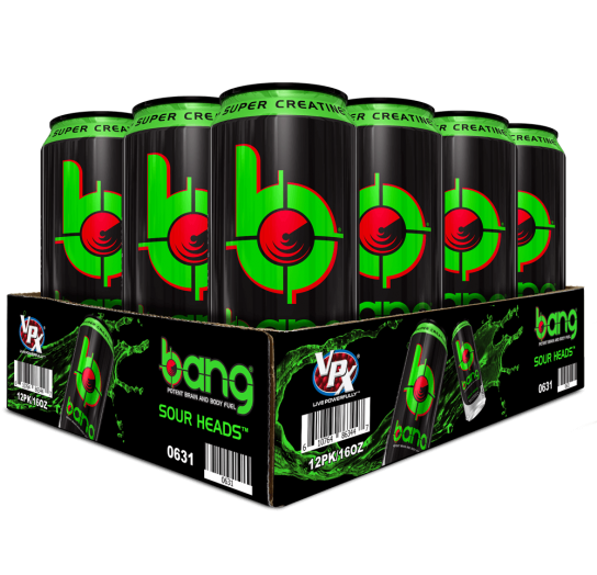 Bang Sour Heads Energy Drink 16 ounces, 12 pack