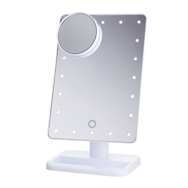 Beautify Beauties Rectangular shaped rotatable makeup mirror with battery operated LED lights