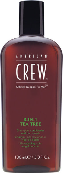 American Crew 3-in-1 Tea Tree Shampoo, Conditioner, and Body Wash 3.3 Ounces