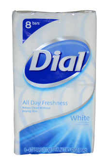 White Antibacterial Deodorant Soap by Dial 8 x 4 oz  Soap for Unisex