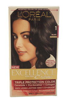 Excellence Creme Pro - Keratine # 1 Black - Natural by L'Oreal Paris 1 Application  Hair Color for Unisex
