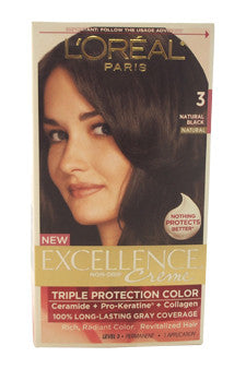 Excellence Creme Pro - Keratine # 3 Natural Black - Natural by L'Oreal Paris 1 Application  Hair Color for Unisex