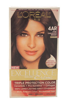 Excellence Creme Pro - Keratine # 4AR Dark Chocolate Brown - Warmer by L'Oreal Paris 1 Application  Hair Color for Unisex