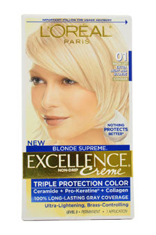 Excellence Creme Blonde Supreme # 01 High-Lift Extra Light Ash Blonde - Cooler by L'Oreal Paris 1 Application  Hair Color for Unisex