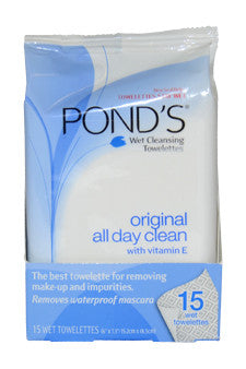 Original Clean Wet Cleansing Towelettes by Pond's 15 Pc  Towelettes for Women