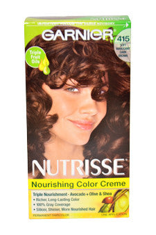 Nutrisse Nourishing Color Creme # 415 Soft Mahogany Dark Brown by Garnier 1 Application  Hair Color for Women