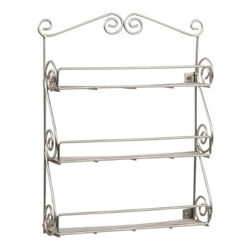 Spectrum Diversified 43778 Scroll Spice Wall Mount Rack, Satin Nickel