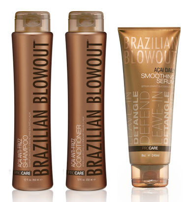 Brazilian Blowout Acai shampoo 12 oz Conditioner 12 oz Smoothing Serum, 8 oz - BEAUTY IT IS
