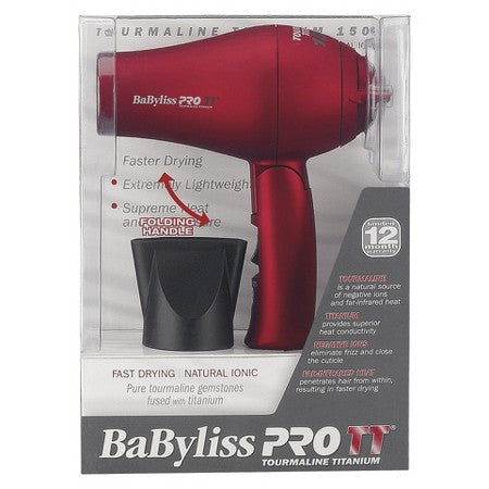 BaByliss Pro TT 3000 Tourmaline Titanium Dryer Red - BABTT5585 - Travel Size