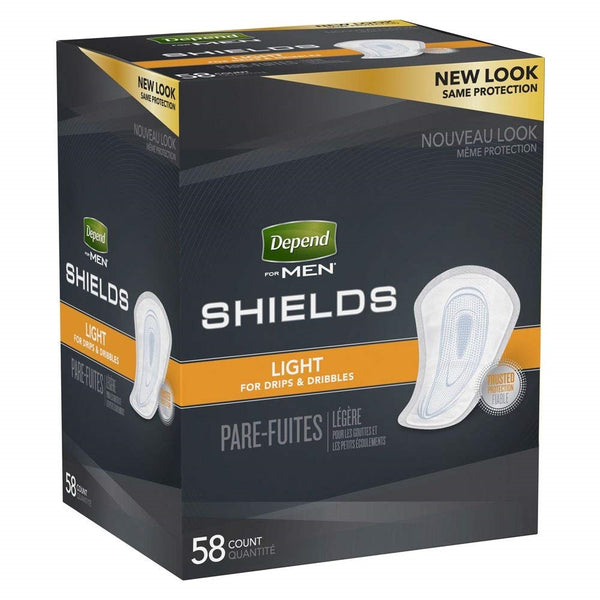 Depend Shields for Men, Light Absorbency - 58 ct
