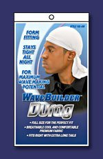 WAVE BUILDER Du-Rag with Long-Tie WHITE (Model: 192-AW), Stays tight all night, perfect fit, premium fabric, breathable material, form fitting, full size, 0