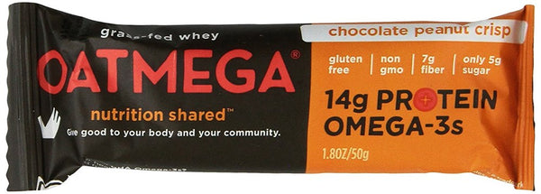 Nutrition Bar Chocolate Peanut Crisp Oatmega Bar, Gluten-Free, Egg-Free 1.8 Ounce (Pack of 12)