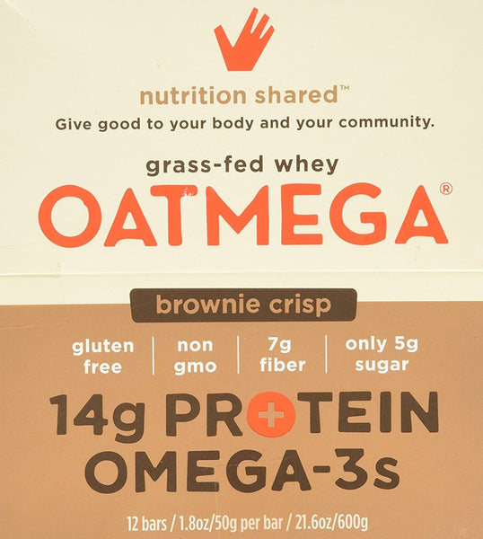 Boundless Nutrition Brownie Crisp Oatmega Bar, 24 Count 1.80Oz/50g per bar