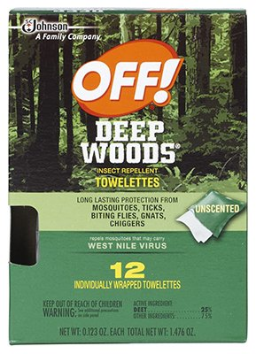 Off! Deep Woods Insect Repellent Wipes 12 Towelettes, 12 TOWELETTES
