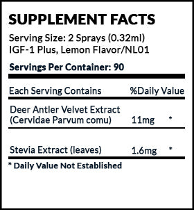 IGF Plus Deer Antler Velvet Supplement Facts label