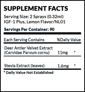 IGF-1 Plus Deer Antler Velvet Supplement Facts label