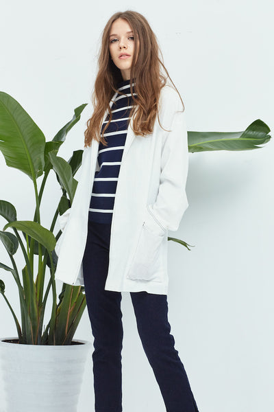 White Dropped Shoulder Jacket