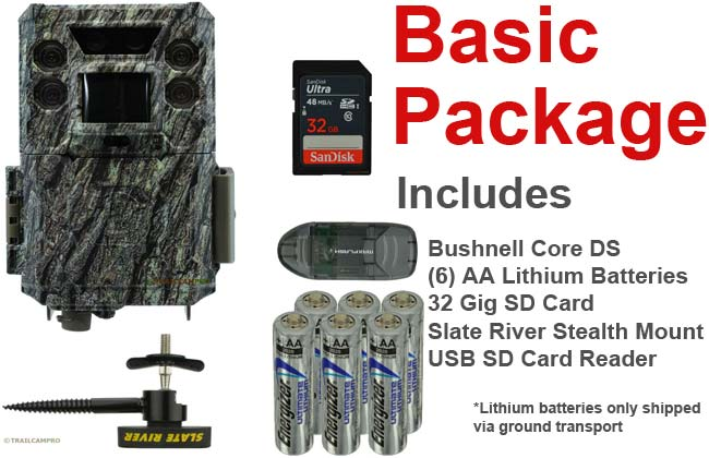 basic package for bushnell core ds low glow includes tree mount batteries 32gb sd card and usb sd card reader