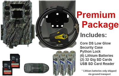 premium package for bushnell core ds low glow includes 2 32gb cards batteries usb sd card reader security case and python cable lock