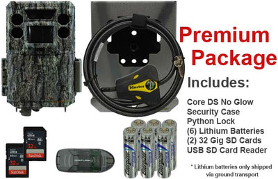 premium package for the bushnell core ds no glow trail camera includes 2 32gb sd cards batteries security case python cable lock and usb sd card reader
