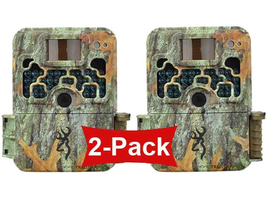 front view of 2 pack of browning strike force extreme trail cameras