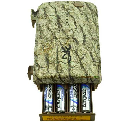 open battery view of browning trail camera power pack
