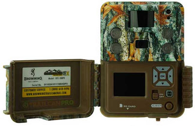 "open view of the browning strike force pro x trail camera width=""650"" height=""420"""