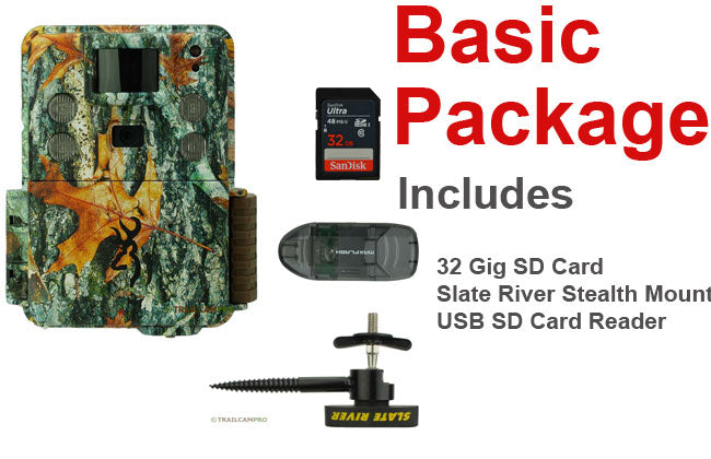 basic package for the browning strike force hd pro x includes batteries 32gb sd card tree mount and usb sd card reader