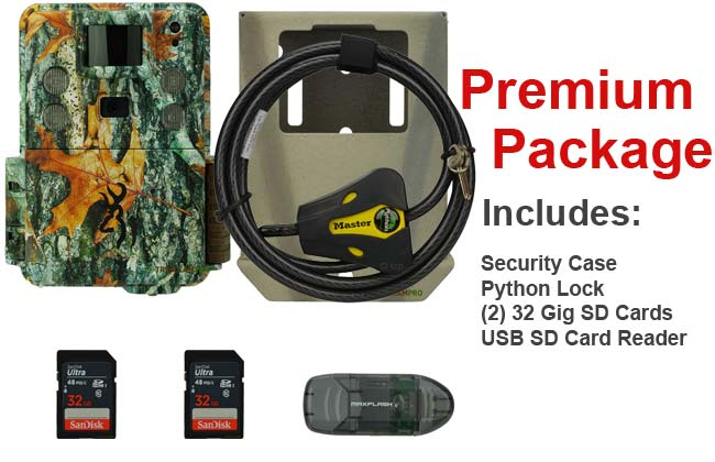 premium package for the browning strike force hd pro x includes 2 32gb sd cards batteries security case python cable lock usb sd card reader