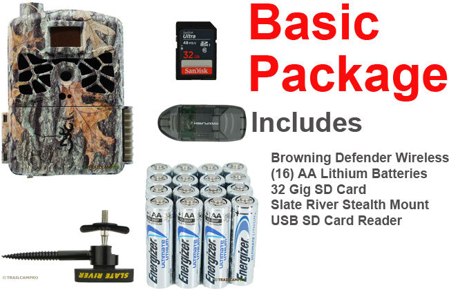 basic package for browning wireless defender includes battery tree mount and 32gb SD card