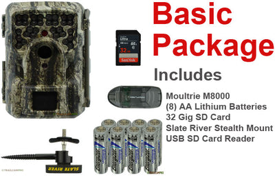 Basic Package for Moultrie M-8000 trail camera includes tree mount, batteries, USB SD card reader, and a 32gb SD card