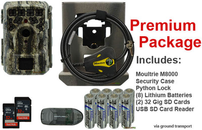 Premium package for Moultrie M-8000 trail camera includes 2 32gb SD card, USB SD reader, batteries, python cable lock, and security case