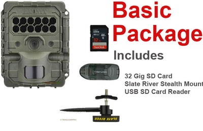 basic package, includes reconyx hf2x, 32 gig sd card, usb reader, 12 lithium batteries and slate river mount