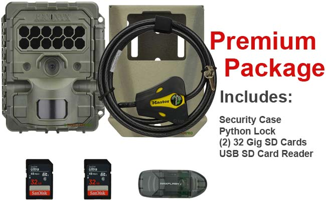 premium package includes reconyx hf2x security case python lock two 32 gig sd cards usb reader and 12 lithium batteries