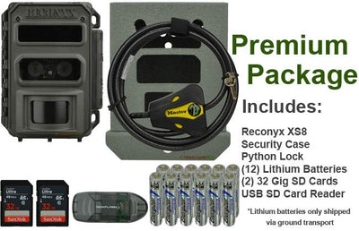 "reconyx xs8 premium package includes reconyx xs8 security case python lock two 32 gig sd cards usb reader and lithium batteries width=""650"" height=""420"""