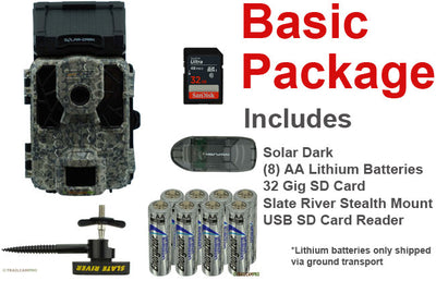 Basic Package for the Spypoint Solar Dark includes, tree mount, batteries, USB SD card reader, and 32gb SD card