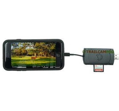 "Stealth Cam 4-IN-1 SD Card and Micro SD Card Reader with Phone tealth Cam Fusion cellular camera width=""450"" height=""420"""