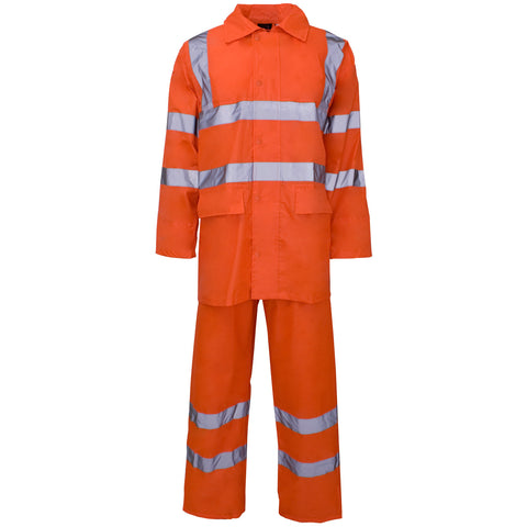 Supertouch Hi Vis Polyester/PVC Rainsuit - Orange - Worklayers