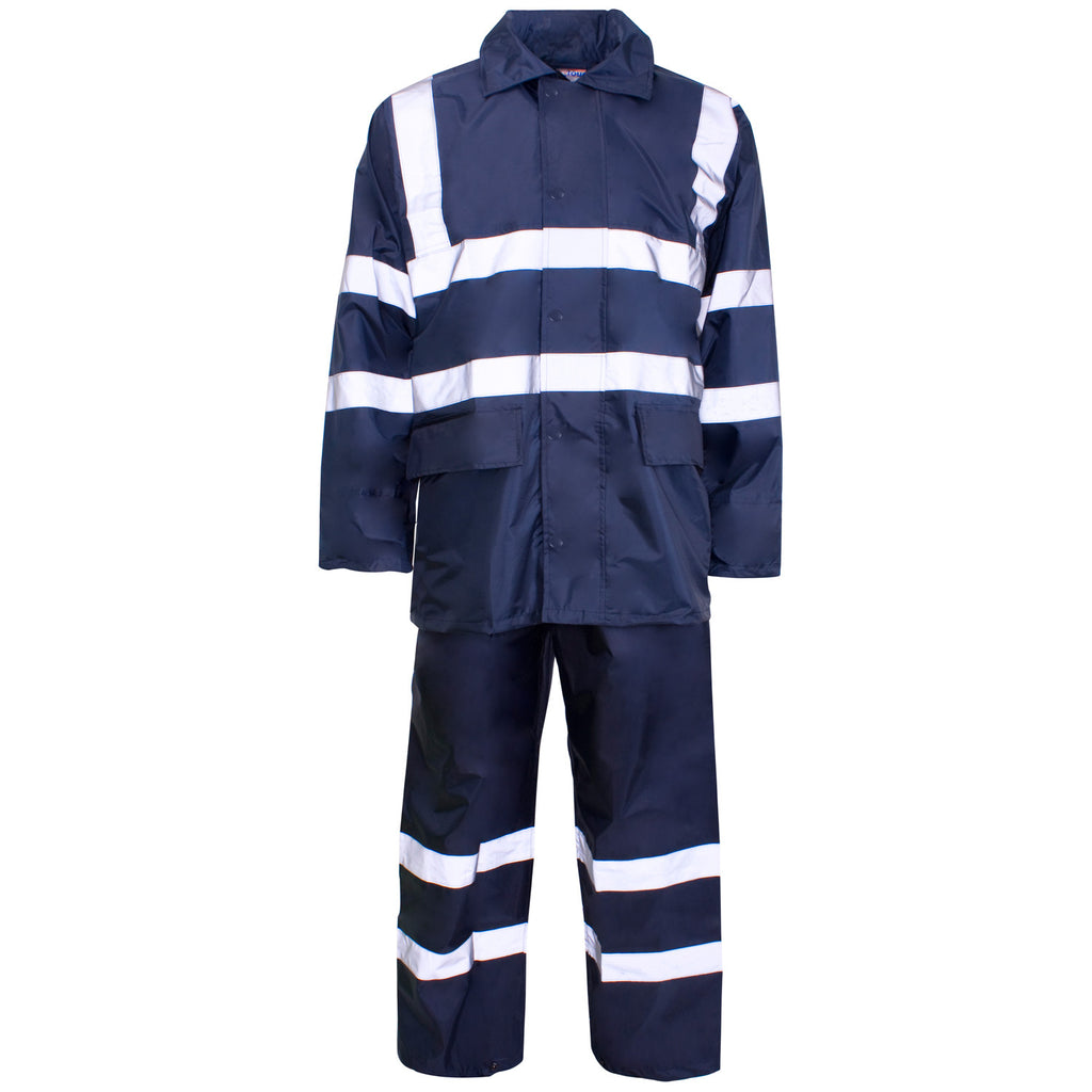 Supertouch Hi Vis Polyester/PVC Rainsuit - Navy - Worklayers