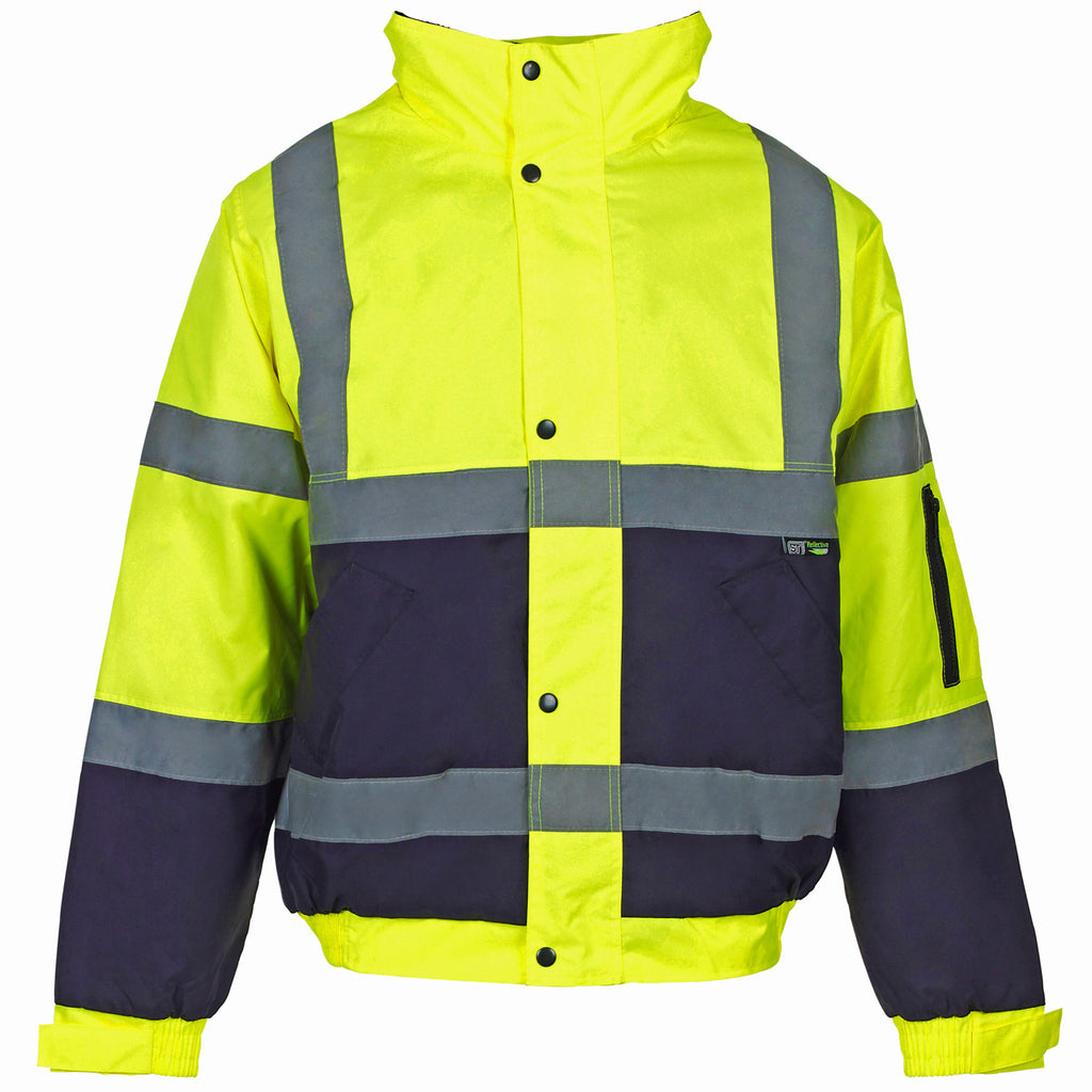 Supertouch Hi Vis 2 Tone Bomber Jacket - Yellow/Navy - Worklayers