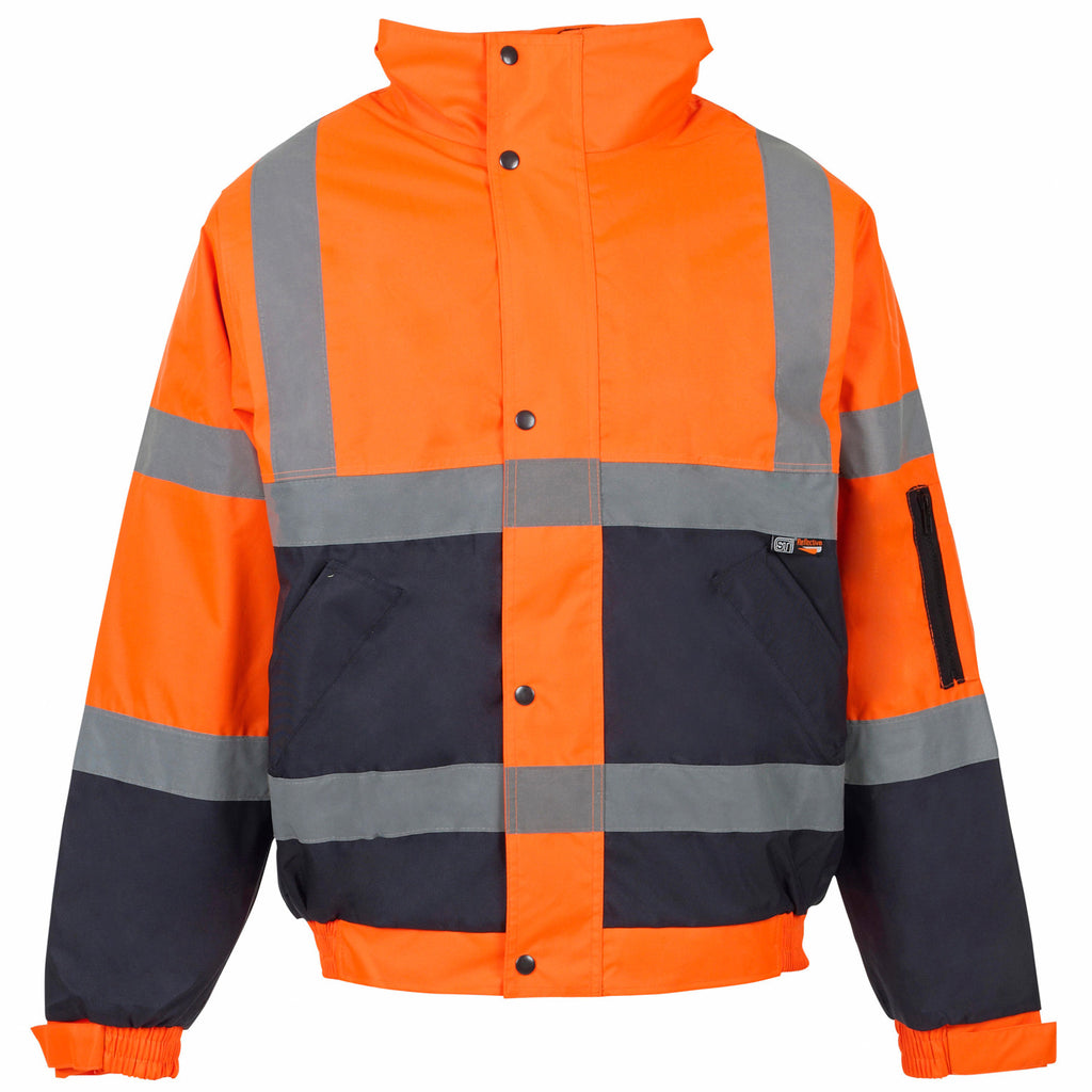 Supertouch Hi Vis 2 Tone Bomber Jacket - Orange/Navy - Worklayers