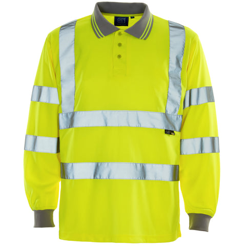 Supertouch Hi Vis Long Sleeved Polo Shirt - Yellow - Worklayers